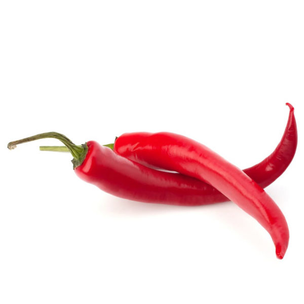 Two chili peppers lying horizontaly.